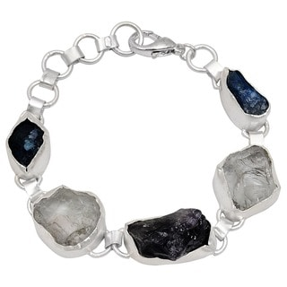 Orchid Jewelry Silver Overlay 80ct TGW Genuine Amethyst, Crystal Quartz, and Appetite Bracelet