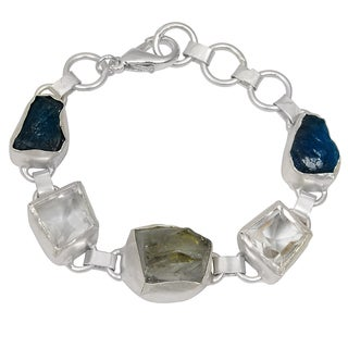 Orchid Jewelry 60ct TGW Genuine Green Amethyst, Crystal Quartz and Apatite Brass Bracelet