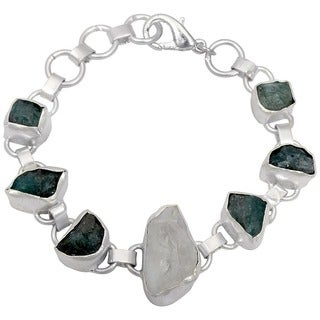 Orchid Jewelry Silver Overlay 65ct TGW Genuine Crystal Quartz and Apatite Bracelet