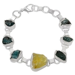 60 Ct Citrine and Apatite Druzy Silver Overlay Handmade Bracelet by Orchid Jewelry