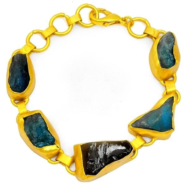 Perfect Design Rough Apatite And Crystal Quartz Gemstone Bangle For Women