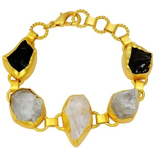Orchid Jewelry Yellow Gold Overlay 65ct TGW Genuine Crystal Quartz, Smoky Quartz and Green Amethyst Bracelet