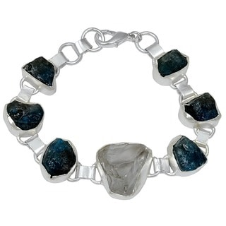 Orchid Jewelry Silver Overlay 75ct TGW Genuine Crystal Quartz and Apatite Bracelet