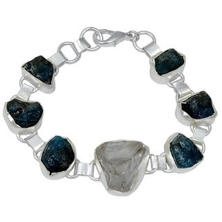 Orchid Jewelry Silver Overlay 75 Carat Genuine Crystal Quartz & Apatite Raugh Stone Bracelet