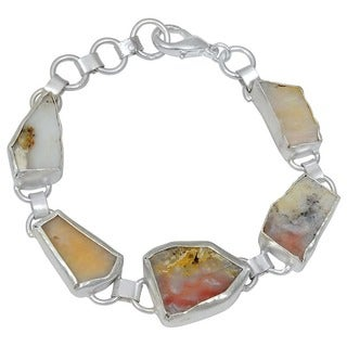 Orchid Jewelry Silver Overlay 45ct TGW Genuine Agate Bracelet
