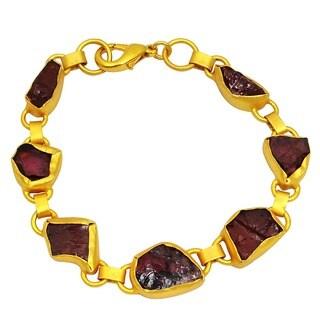 Orchid Jewelry Yellow Gold Overlay 40ct Garnet Bracelet