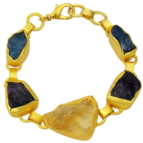 Orchid Jewelry Yellow Gold Overlay 70 Carat Genuine Citrine, Amethyst & Appetite Fashion Bracelet