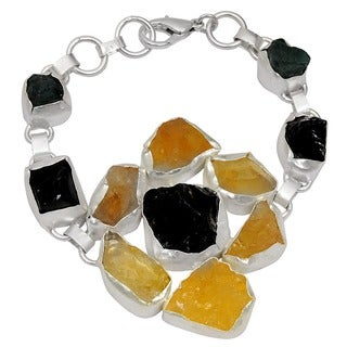 Orchid Jewelry Silver Overlay 140ct TGW Genuine Smoky Quartz, Citrine and Appetite Bracelet