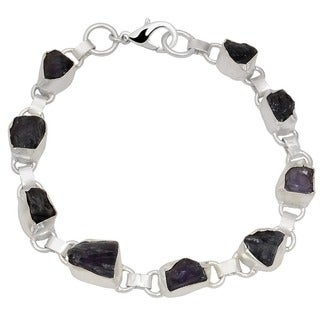 Orchid Jewelry Silver Overlay 80ct TGW Genuine Amethyst Bracelet