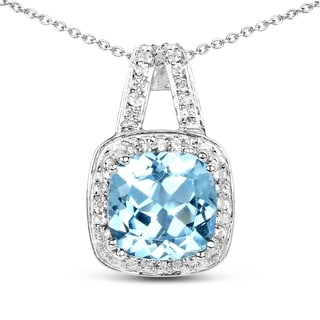Malaika 3.81-carat Genuine Blue Topaz and White Topaz .925 Sterling Silver Pendant