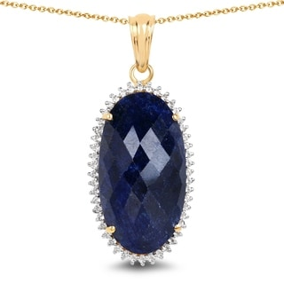 Malaika 14k Yellow Goldplated .925 Sterling Silver 22.78 Carat Dyed Sapphire & White Topaz Oval Pendant