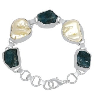 Orchid Jewelry Silver Overlay 96ct Appetite & Pearl Gemstone Bracelet