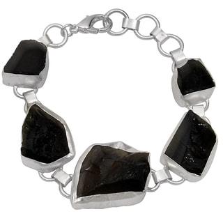 Orchid Jewelry Silver Overlay 90ct TGW Genuine Smokey Quartz Bracelet