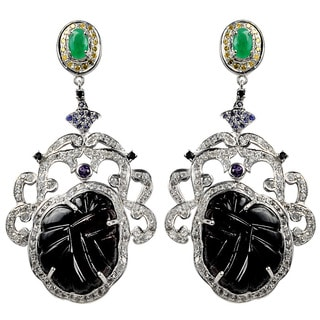 Orchid Jewelry One of A Kind 925 Silver 57 1/4ct Multi-Gemstone and Diamond Earrings