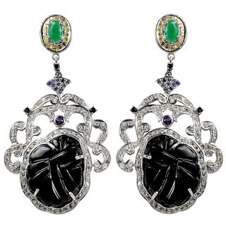 Orchid Jewelry Valentine Collection One of A Kind 925 Silver 57 1/4ct Multi-Gemstone and Diamond Earrings