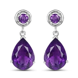 Malaika 0.925 Sterling Silver 8.48 Carat Genuine Amethyst and White Topaz Earrings