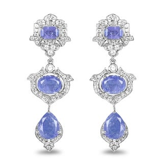 Malaika 0.925 Sterling Silver 9.57-carat Genuine Tanzanite and White Topaz Earrings