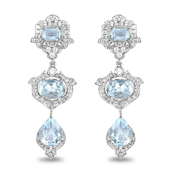 Malaika 0 925 Sterling Silver 9 23 Carat Genuine Blue Topaz And White Earrings