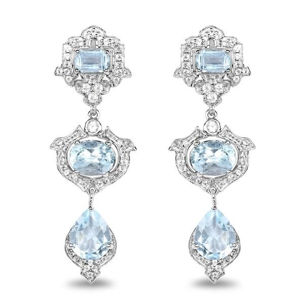 Malaika 0 925 Sterling Silver 9 23 Carat Genuine Blue Topaz And White Earrings
