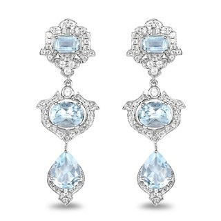 Malaika 0.925 Sterling Silver 9.23 Carat Genuine Blue Topaz and White Topaz Earrings