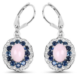 Malaika .925 Sterling Silver 4.00 Carat Genuine Pink Opal, Blue Sapphire & White Topaz Earrings