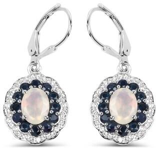 Malaika 0.925 Sterling Silver 2.80 Carat Genuine Ethiopian Opal, Blue Sapphire and White Topaz Earrings