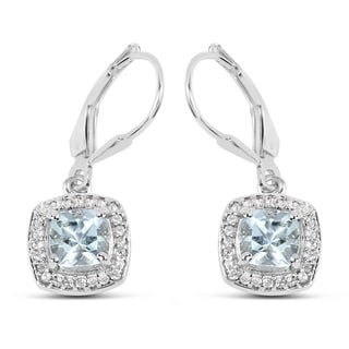 Malaika 2.14 Carat Genuine Aquamarine and White Topaz .925 Sterling Silver Earrings