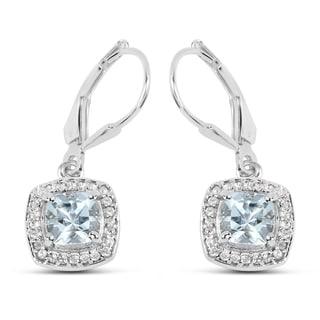 Malaika 2.14 Carat Genuine Aquamarine and White Topaz .925 Sterling Silver Earrings