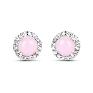 Malaika .925 White Sterling Silver 1.36k Genuine Pink Opal and White Topaz Earrings