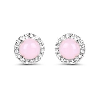Malaika .925 White Sterling Silver 1.36k Genuine Pink Opal and White Topaz Earrings