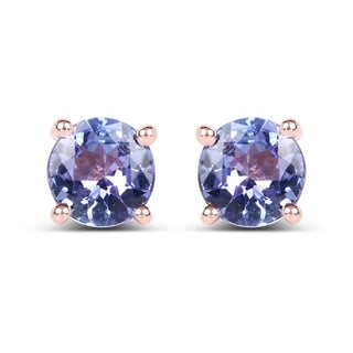 Malaika 14k Rose Goldplated 0.94ct Genuine Tanzanite .925 Sterling Silver Earrings