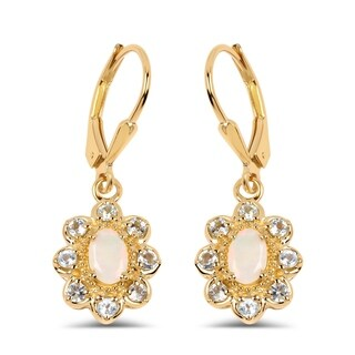 Malaika 14k Yellow Goldplated .925 Sterling Silver 1.06-carat Genuine Ethiopian Opal and Blue Topaz Earrings