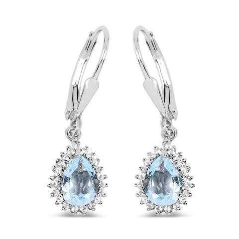 Malaika 0.925 Sterling Silver 1.51-carat Genuine Aquamarine and White Topaz Earrings