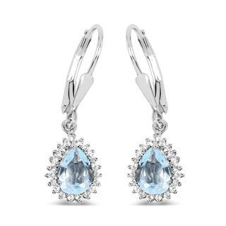 Malaika 0.925 Sterling Silver 1.51-carat Genuine Aquamarine and White Topaz Earrings