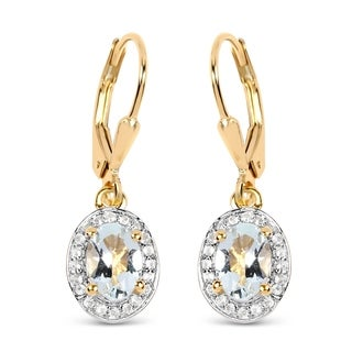Malaika 14K Yellow Gold Plated 1.70 Carat Genuine Aquamarine & White Topaz .925 Sterling Silver Earrings