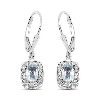 Malaika 0.925 Sterling Silver 1.49 Carat Genuine Blue Topaz and White Topaz Earrings