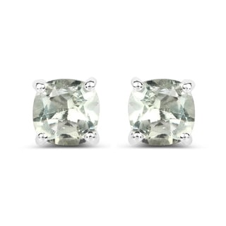 Malaika 1.80-carat Genuine Green Amethyst .925 Sterling Silver Earrings
