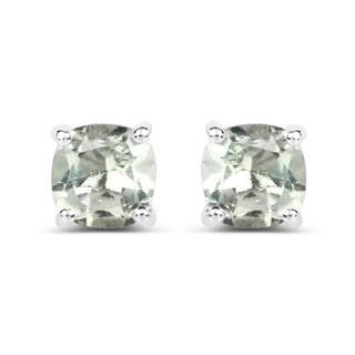 Malaika 1.80-carat Genuine Green Amethyst .925 Sterling Silver Earrings