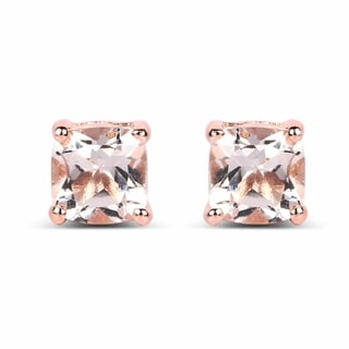 Malaika 14k Rose Gold-plated 0.925 Sterling Silver 1.20-carat Genuine Morganite Earrings