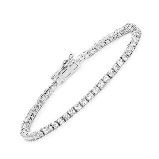 Malaika 0.925 Sterling Silver 4.96-carat Genuine White Topaz Bracelet