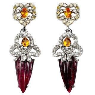 Orchid Jewelry Valentine Collection One of A Kind 925 Silver Earring 8.07ct TGW Multi Gemstone and Diamond