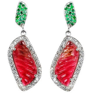 Orchid Jewelry Valentine Collection One of A Kind 925 Silver Earring 11.60ct TGW Tourmaline, Emerald & Topaz
