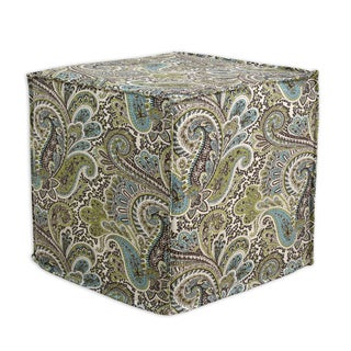 Cotton Green and Brown Paisley 17-inch Square Seamed Foam Ottoman