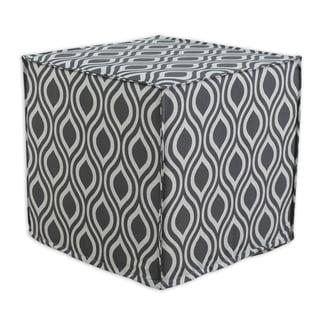 Nichole Laken Grey Cotton 17-inch Square Seamed Foam Ottoman