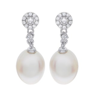 Pearls For You Sterling Silver White Freshwater Pearl and White Topaz Dangle Earrings