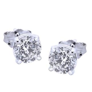 14k White Gold 3/4ct TDW Round Diamond Stud Earrings (IGI Certified, H-J Color, I1 Clarity)