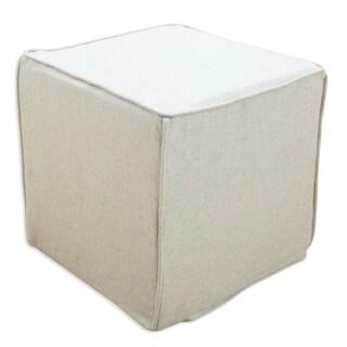 Square Off-white Natural Linen 17-inch Corded Foam Ottoman