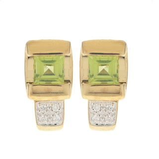 Gems For You 14k Yellow Gold Peridot and Diamond Earring
