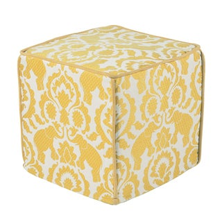 Babar Topaz Yellow/Cream 17-inch Square Magnum-corded Zippered Foam Ottoman