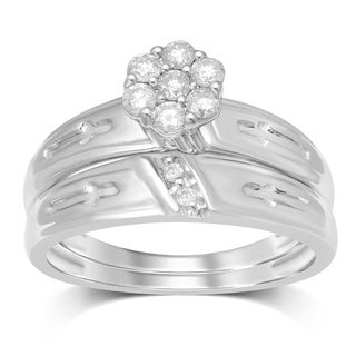 Unending Love 1/3ct TW 10k White Gold 7 Stone Round Flower Top Bridal Set (IJ I2-I3)
